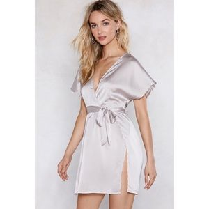 Nasty Gal Dresses - Nastygal Call in Slick Silver Satin Dress